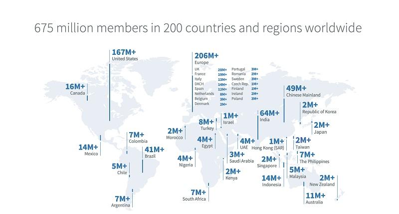 números do LinkedIn no mundo por região